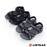 AIRWALK任選-(男) - 小野人 越野戶外輕量防滑涼鞋-黑迷彩/全黑