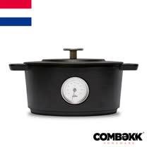 荷蘭Combekk<BR>黑系溫度計鑄鐵鍋28cm