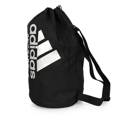 ADIDAS 肩背包 -單肩包 側背包 斜背包 束口袋 收納袋 愛迪達 黑灰 F