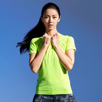【AIRWALK】城市系列吸排圓領T恤(女)-螢黃