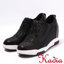 kadia.造型鑽面內增高休閒鞋(7025-98黑)