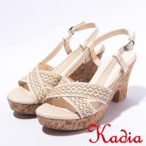 kadia.波希米亞風粗跟高跟涼鞋(7106-10米色)