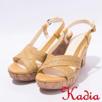 kadia.波希米亞風粗跟高跟涼鞋(7106-20黃)