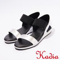 kadia.牛皮腳背鬆緊帶涼鞋(7109-80銀)