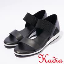 kadia.牛皮腳背鬆緊帶涼鞋(7109-90黑)