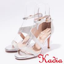 kadia.氣質優雅 緞面簡約高跟涼鞋(7110-80銀)