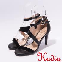 kadia.氣質優雅 緞面簡約高跟涼鞋(7110-90黑)