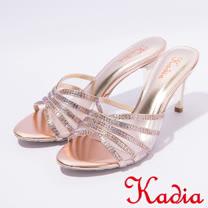 kadia.典雅水鑽交叉網狀高跟拖鞋(7111-65粉)