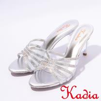 kadia.典雅水鑽交叉網紗高跟拖鞋(7111-85銀)