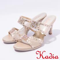 kadia.典雅水鑽透膚網紗拼接高跟涼鞋(7117-25裸)