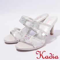 kadia.典雅水鑽透膚網紗拼接高跟涼鞋(7117-85銀)