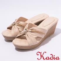 kadia.優雅水鑽點綴交叉厚底拖鞋(7128-00裸)