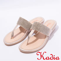 kadia.夏日清涼水鑽夾腳拖鞋(7130-28金)