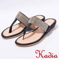 kadia.夏日清涼水鑽夾腳拖鞋(7130-98黑)
