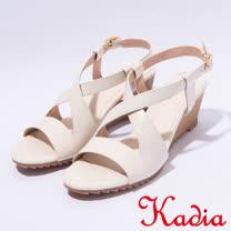 kadia.夏日清涼 造型交叉羊皮楔型涼鞋(7132-01白)