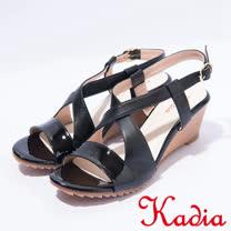kadia.夏日清涼 造型交叉羊皮楔型涼鞋(7132-91黑)