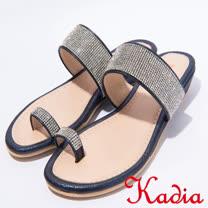 kadia.指環細鑽低跟楔型拖鞋(7340-58藍)