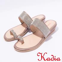 kadia.指環細鑽低跟楔型拖鞋(7340-78咖啡)