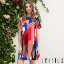 JESSICA - 撞色設計幾何條紋造型洋裝
