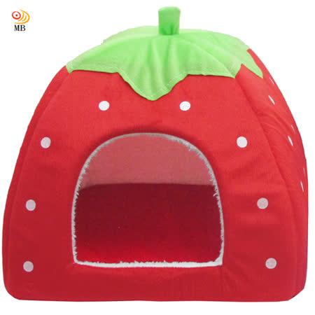 月陽大號43cm草莓蒙古包寵物窩狗窩貓窩寵物床附軟墊(DC4)