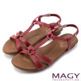 MAGY 休閒舒適 牛皮蜥蜴壓紋平底涼鞋-紅色