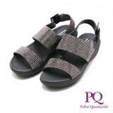 PQ 水鑽寬帶涼鞋女鞋-灰(另有藍)