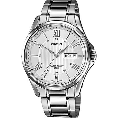 CASIO 卡西歐 羅馬指針手錶-銀 MTP-1384D-7AVDF