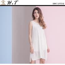 玄太-泡泡點無袖特色織紋針織長版上衣(白)