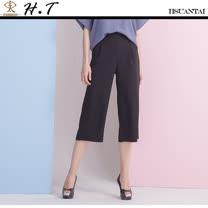 玄太- 純色鬆緊褲頭舒適寬管褲(黑)
