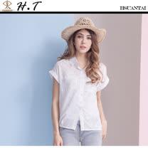 玄太-舒適棉質寬袖粉嫩點點造型襯衫 (粉嫩白)