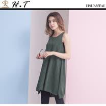 玄太-泡泡點無袖特色織紋針織長版上衣(綠)