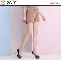 玄太- 純色抽繩鬆緊褲頭舒適短褲(褐)