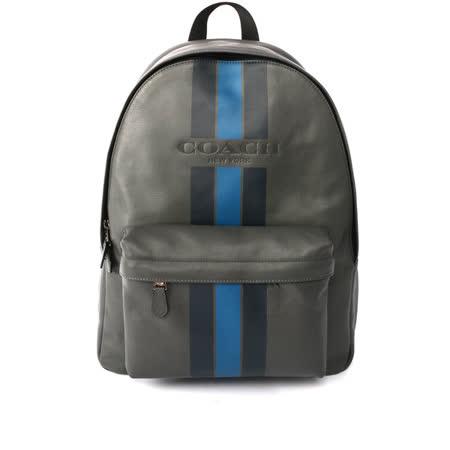 【COACH】皮革拼黑藍直條紋 大容量後背包(灰色)