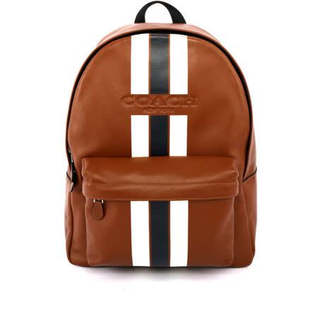 【COACH】皮革拼黑白直條紋 大容量後背包(深咖啡色)