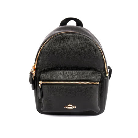 【COACH】經典馬車LOGO荔枝紋皮革後背包(小)(黑色)