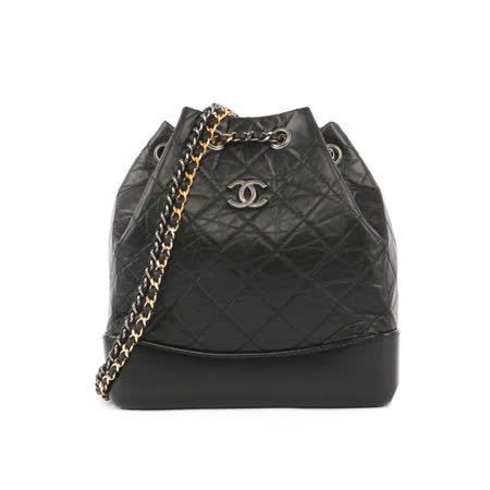 【CHANEL】仿舊牛皮水桶包 後背包 Gabrielle de Chanel(金銀雙鏈配)(黑色) A94485
