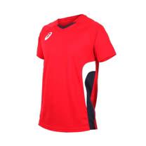 (男女) ASICS 排球短袖上衣-短T T恤 亞瑟士 紅丈青