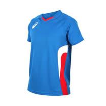 (男女) ASICS 排球短袖上衣-短T T恤 亞瑟士 藍紅白