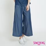 SOMETHING 垂墜柔軟闊腿褲-女-原藍磨