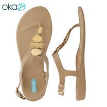 【OkaB】NOVA寶石美型Y字涼鞋 杏色(K1700-TAN)
