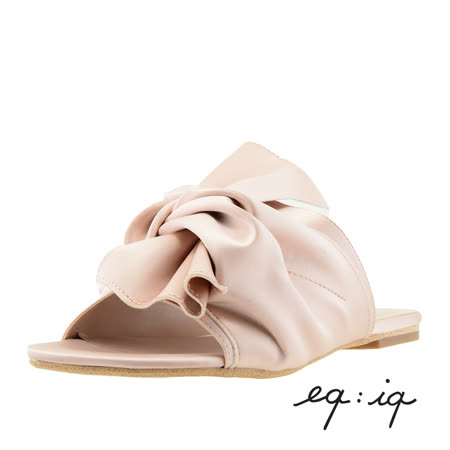 eq:iq--扭結設計平底拖鞋--氣質粉膚