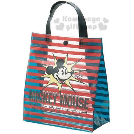 〔小禮堂〕迪士尼 米奇 防水手提袋《小.黑紅.條紋.大臉.透明》