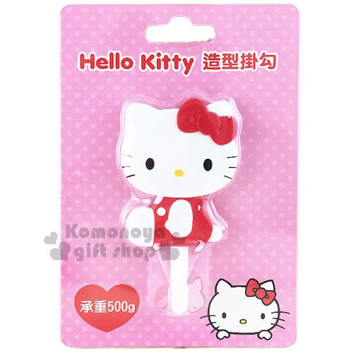 〔小禮堂〕Hello Kitty 貼式 掛勾~紅.側坐.泡殼~耐重500g