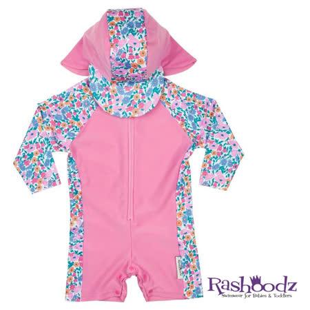 澳洲 RASHOODZ 兒童抗UV防曬連身泳衣附遮陽帽 (甜心花園)