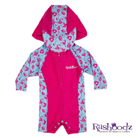 澳洲 RASHOODZ 兒童抗UV防曬連身泳衣附遮陽帽 (芭蕾舞小花)