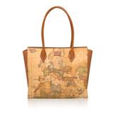 Alviero Martini 義大利地圖包 直立拉鍊手提肩背包(大)-地圖黃
