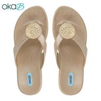 【OkaB】WYLAND銅飾夾腳拖鞋 金色(K9830-GO)
