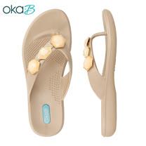【OkaB】WINSTON幾何寶石夾腳拖鞋 金色(K9802-GO)
