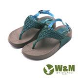 【W&M】幾何雕花夾腳厚底涼鞋 女鞋-綠(另有橘)