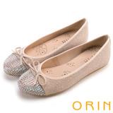 ORIN 耀眼甜美 鞋頭燙鑽蔥布平底娃娃鞋-粉色
